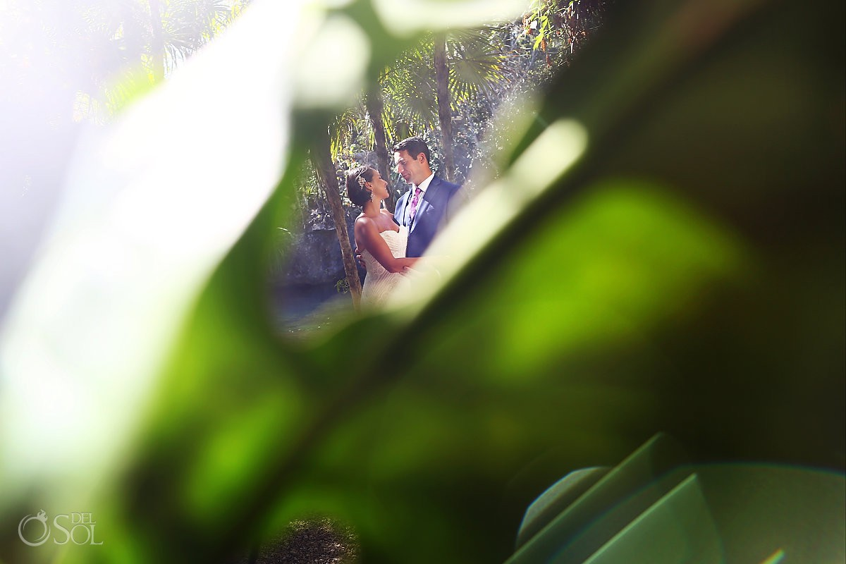 Bride and Groom Cenote jungle portraits Riviera Maya Mexico