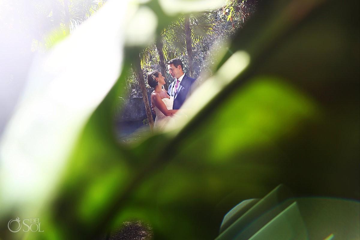 Bride and Groom Cenote jungle portraits Riviera Maya Mexico