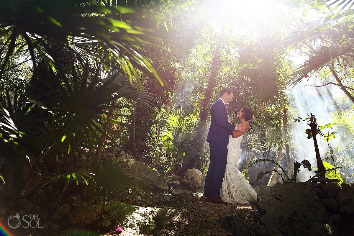 Amazing sun light Cenote entrance Trash the Dress Riviera Maya Mexico