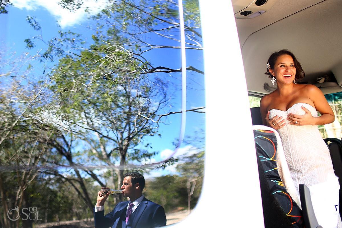 Bride and groom having fun Cenote Trash the Dress Riviera Maya Mexico