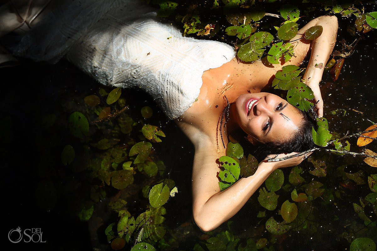 Bride portrait Cenote Trash the Dress Riviera Maya Mexico
