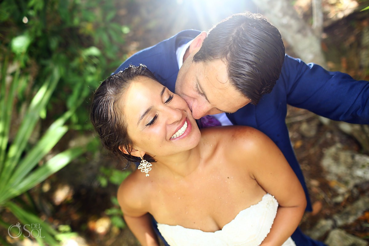 Bride and Groom in love jungle portraits Riviera Maya Mexico