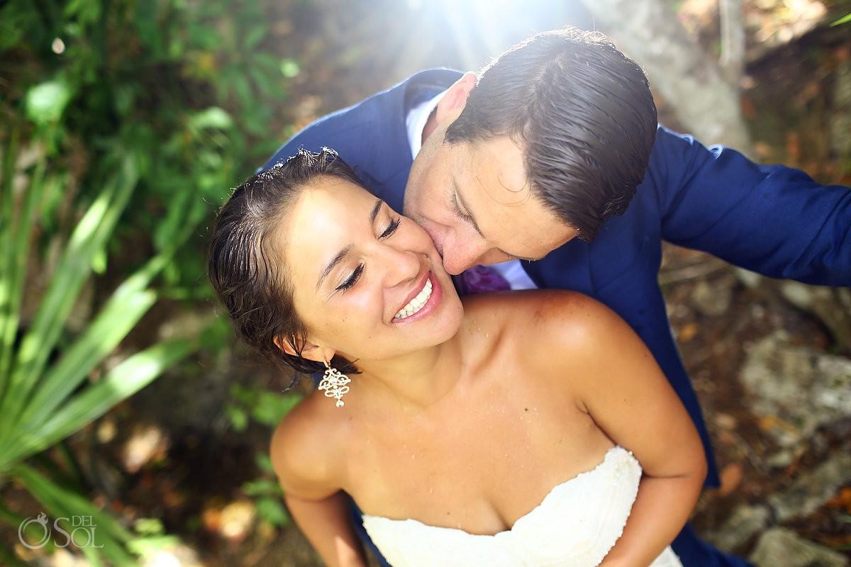 Bride and Groom in love jungle portraits Riviera Maya Mexico