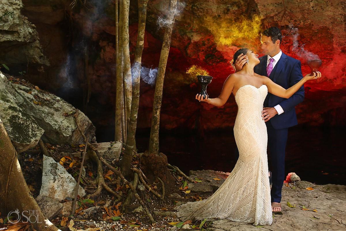 Creative trash the dress portrait Cenote Riviera Maya Mexico