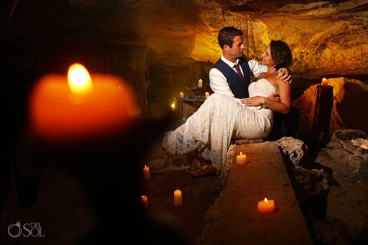 sacred mayan cave bride and groom portrait Cenote Trash the Dress Riviera Maya Mexico