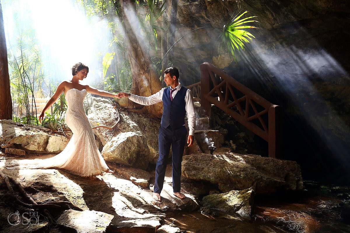 Best place for trash the dress pictures Cenote Riviera Maya Mexico