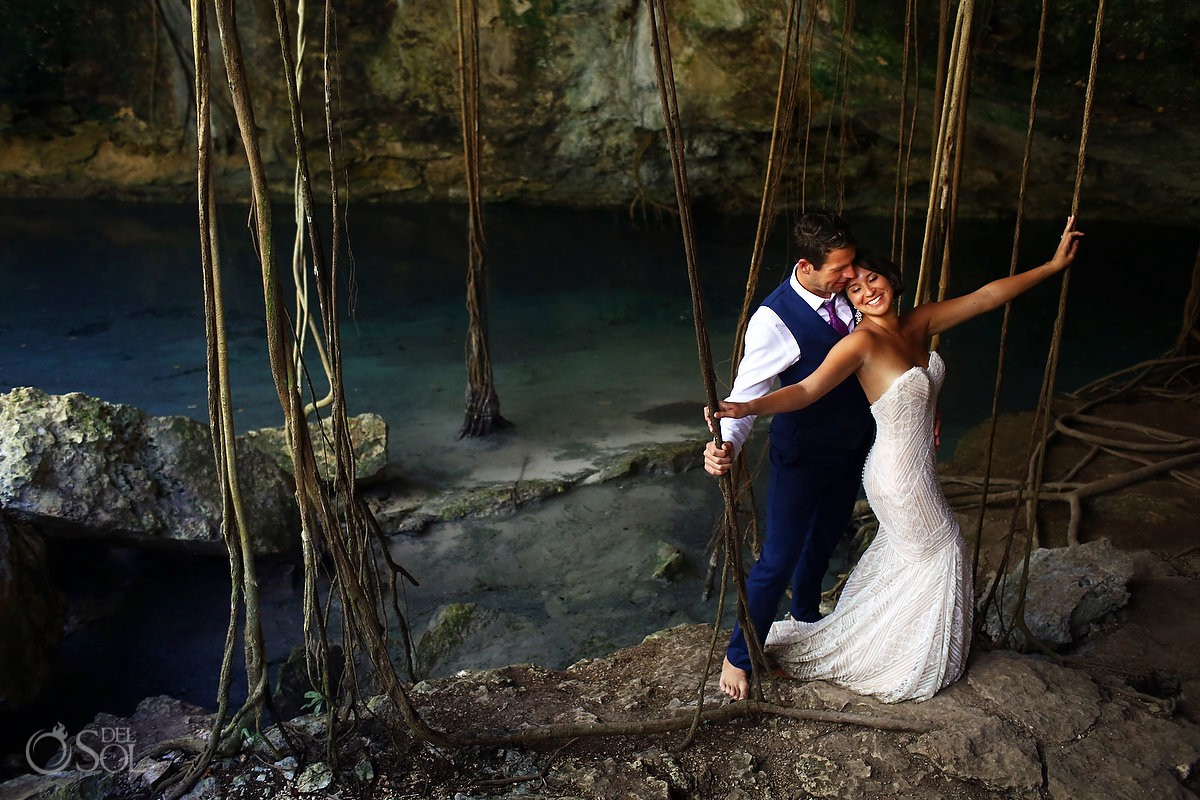 Romantic bride and groom trash the dress portrait