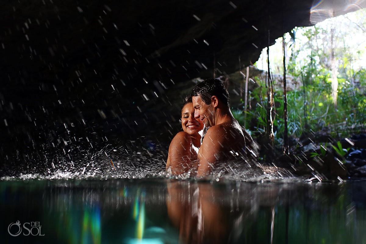 splash water bride and groom trash the dress Cenote Riviera Maya Mexico