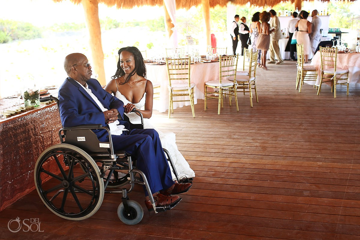 bride and her dad love moments wedding reception Finest Resort Playa Mujeres Cancun Mexico