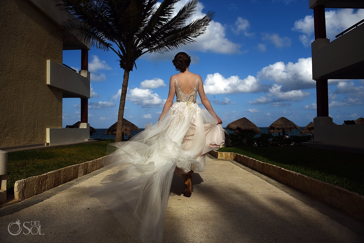 Riviera Cancun Wedding Bride Walking Blue Sky Flying Dress Now Sapphire