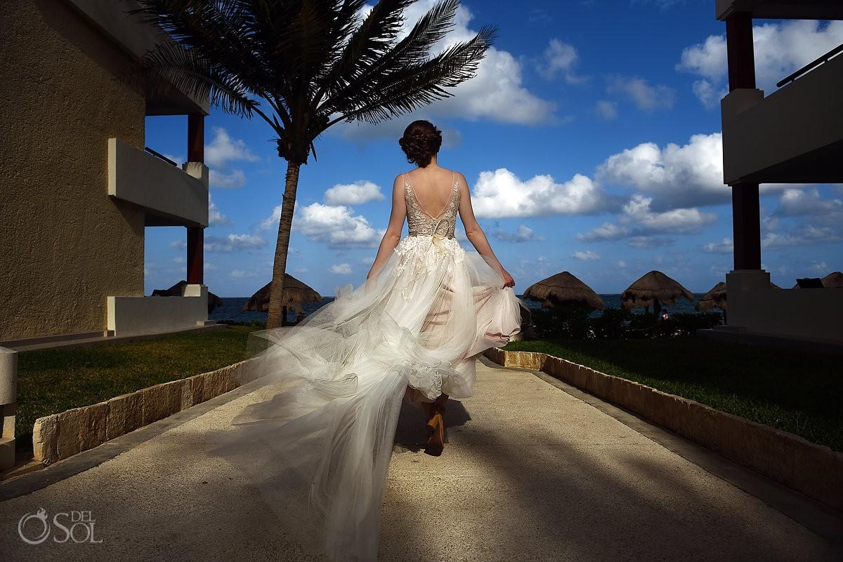Riviera Cancun Wedding Bride Walking Blue Sky Flying Dress Now Sapphire