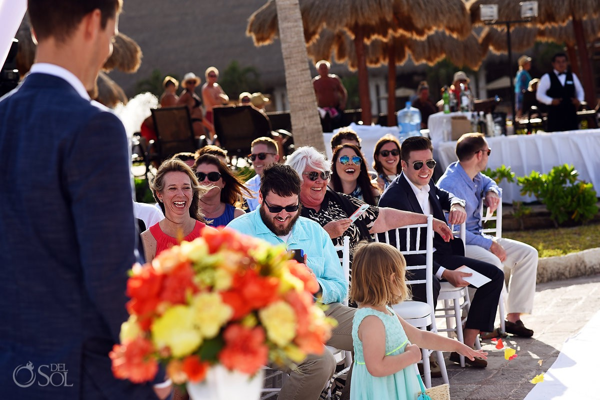 Riviera Cancun Wedding Smiling Guests Ceremony Now Sapphire