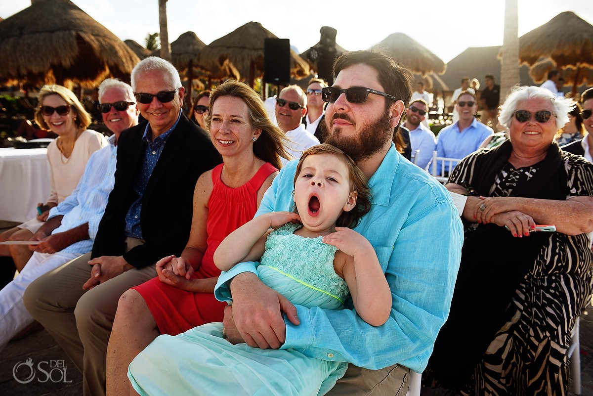 Riviera Cancun Wedding Little Girl Yawning Ceremony Now Sapphire