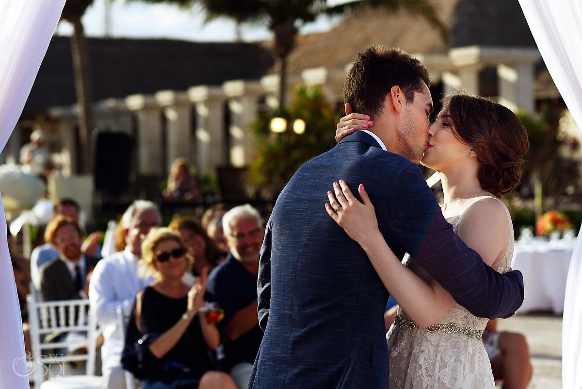 Riviera Cancun Wedding First Kiss Now Sapphire