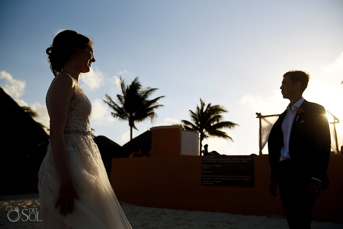 Riviera Cancun Wedding Sunset Portrait Now Sapphire