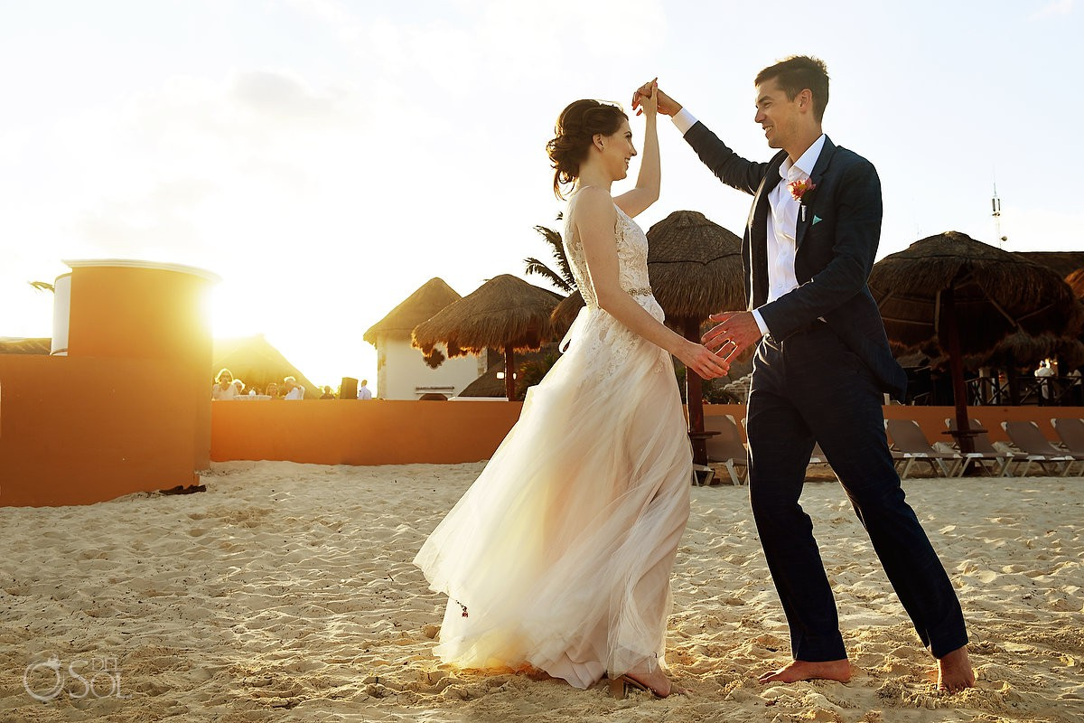 Riviera Cancun Wedding Bride Groom Dancing Sand Sunset Now Sapphire