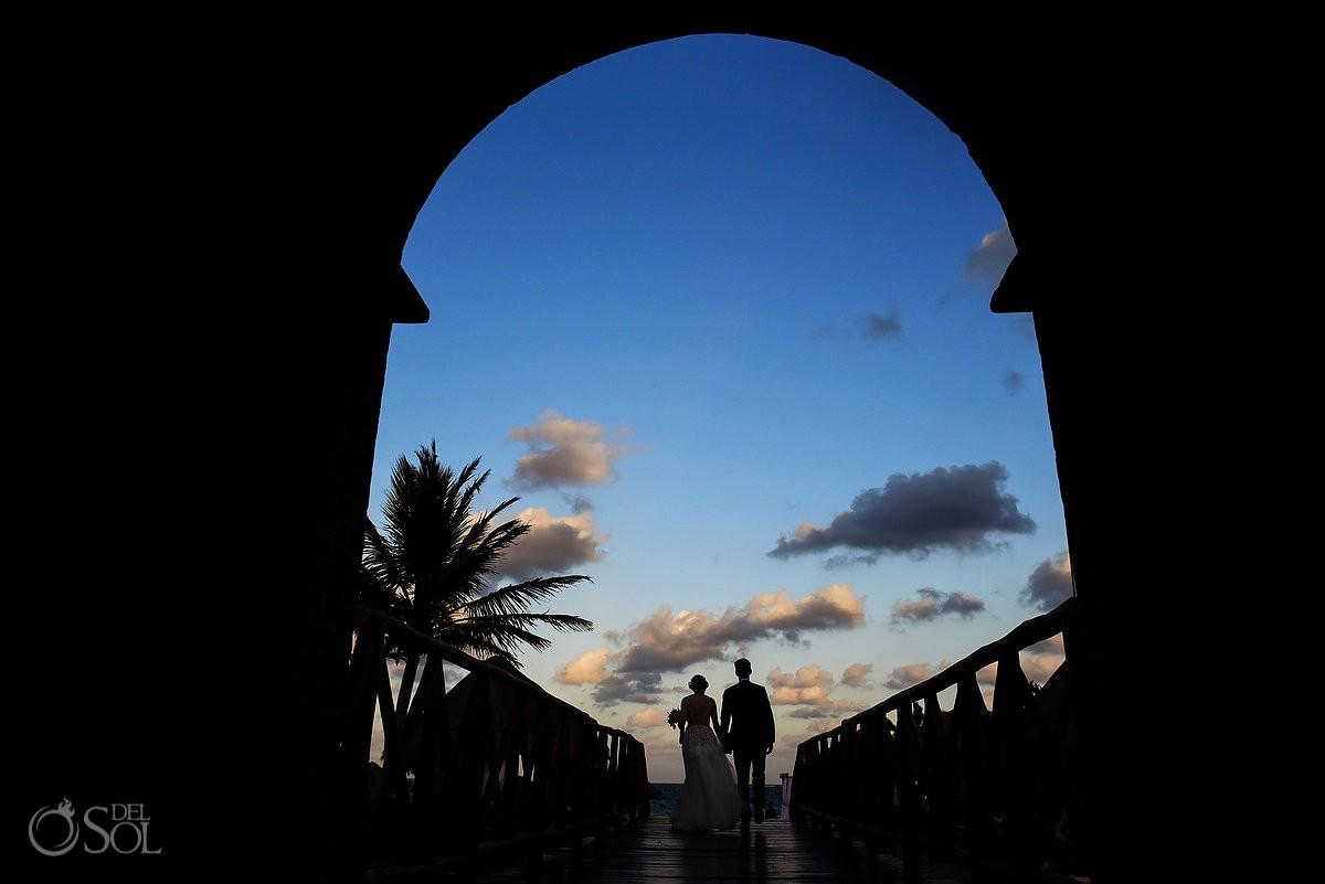 Riviera Cancun Wedding Bride Groom Silhouette Portrait Now Sapphire