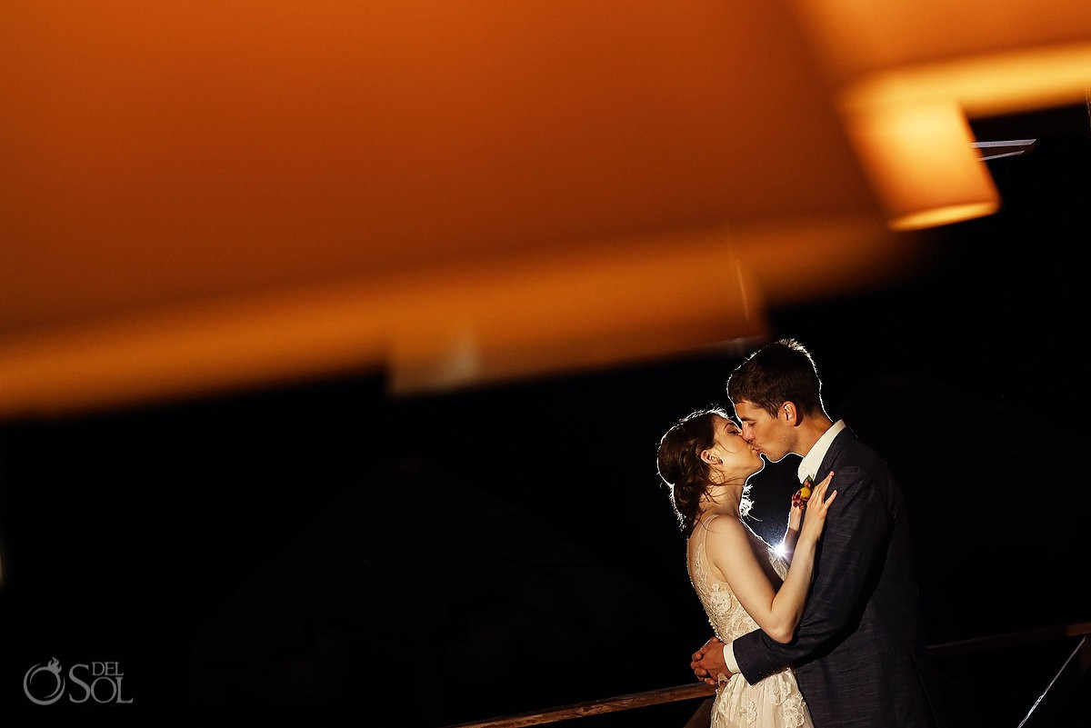 Riviera Cancun Wedding Backlight Kiss Portrait Now Sapphire