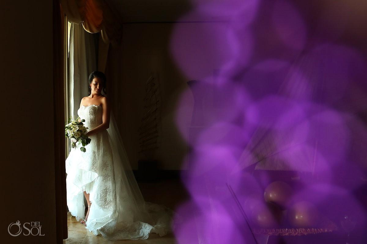 Destination Wedding bride beautiful light and bokah Dreams Riviera Cancun Resort Mexico