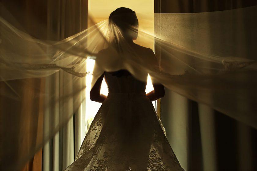 Destination Wedding bride ready veil beautiful light Dreams Riviera Cancun Resort Mexico
