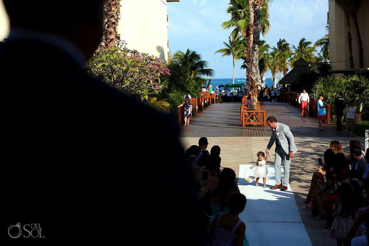 Destination Wedding ceremony little girl flower basquet Dreams Riviera Cancun Resort Mexico
