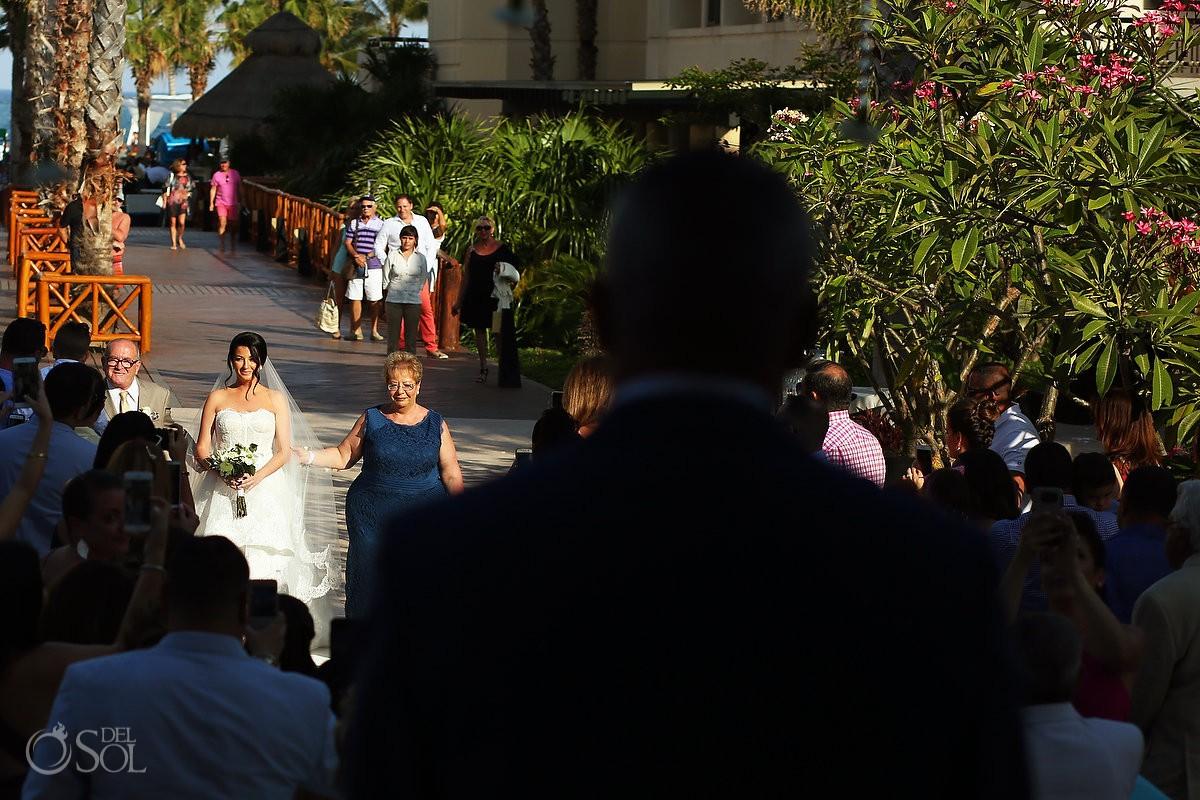 Destination Wedding ceremony bride first look Dreams Riviera Cancun Resort Mexico