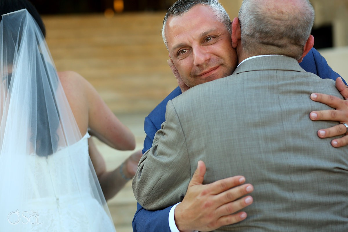Destination Wedding ceremony groom dad emotional moment Dreams Riviera Cancun Resort Mexico