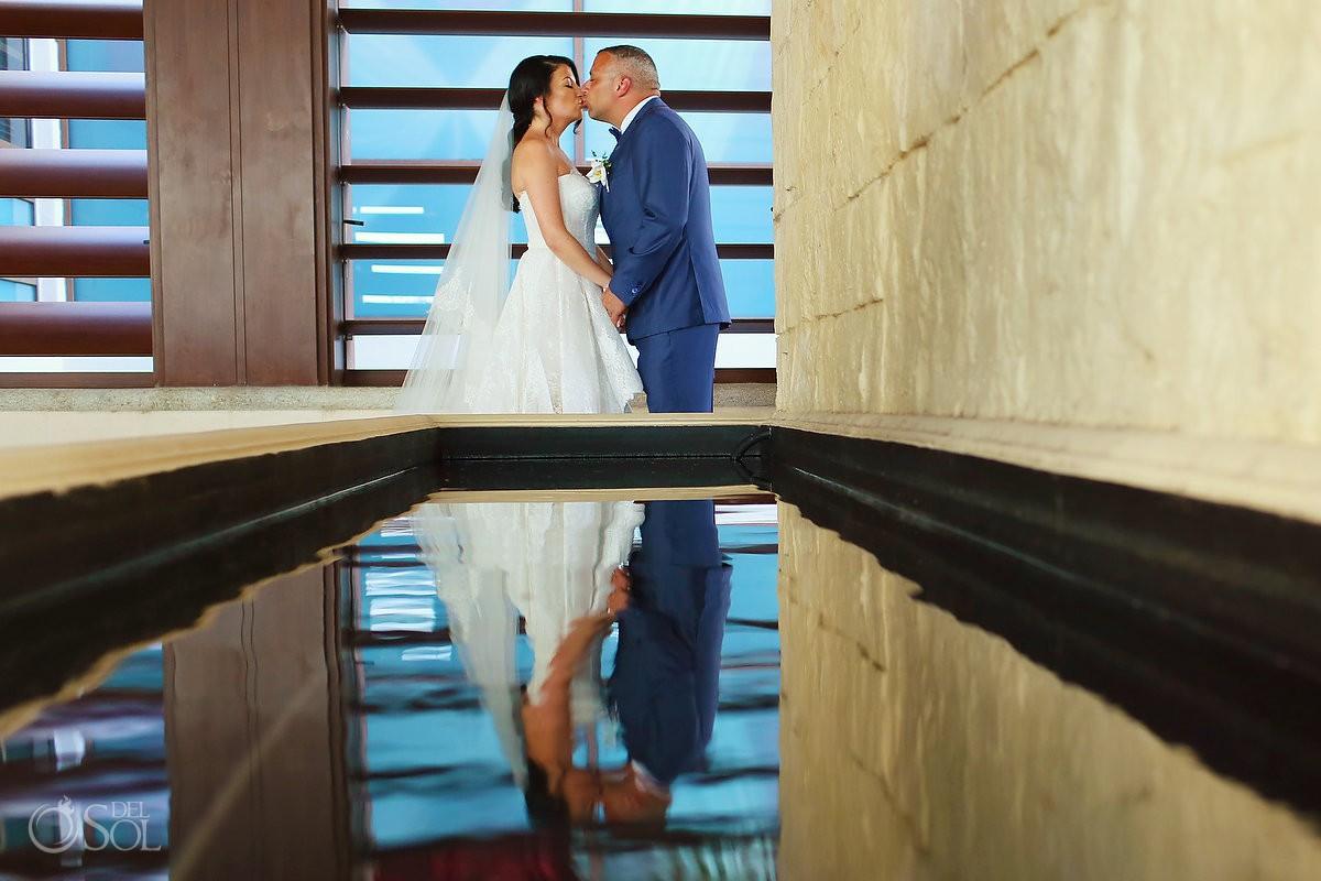 Destination Wedding bride and groom profile portrait Dreams Riviera Cancun Resort Mexico