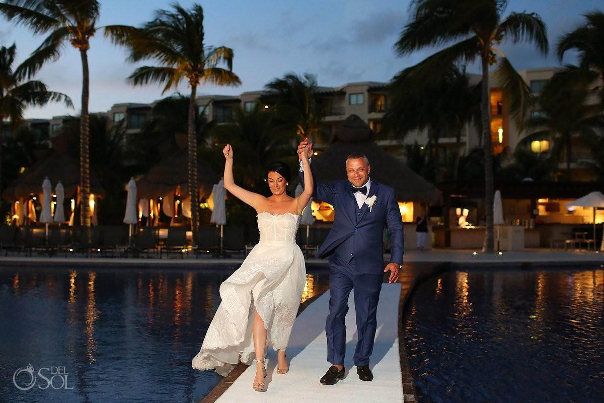 Destination Wedding reception bride groom entrance Dreams Riviera Cancun Resort Mexico