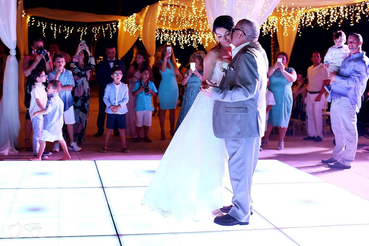 Destination Wedding reception bride father first dance Dreams Riviera Cancun Resort Mexico
