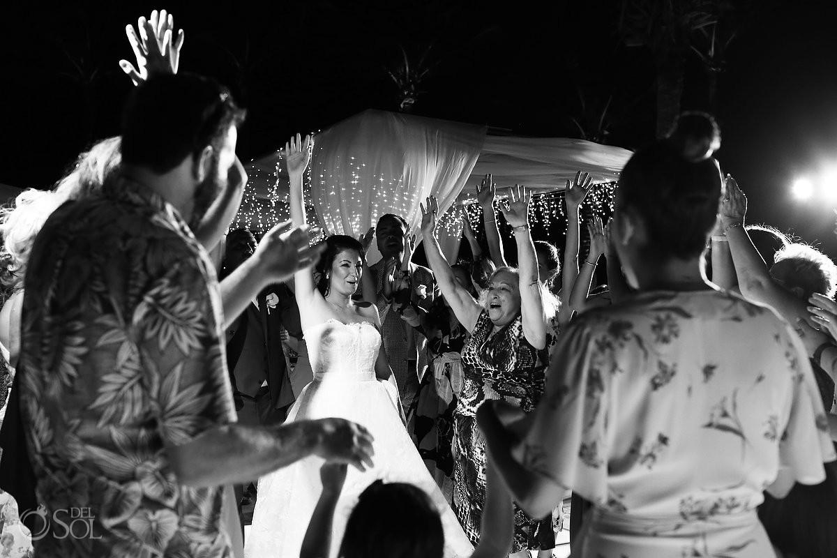 Destination Wedding black and white fun dancing reception Dreams Riviera Cancun Resort Mexico