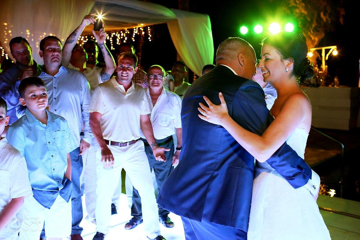 Destination Wedding first dance paparazzi Dreams Riviera Cancun Resort Mexico