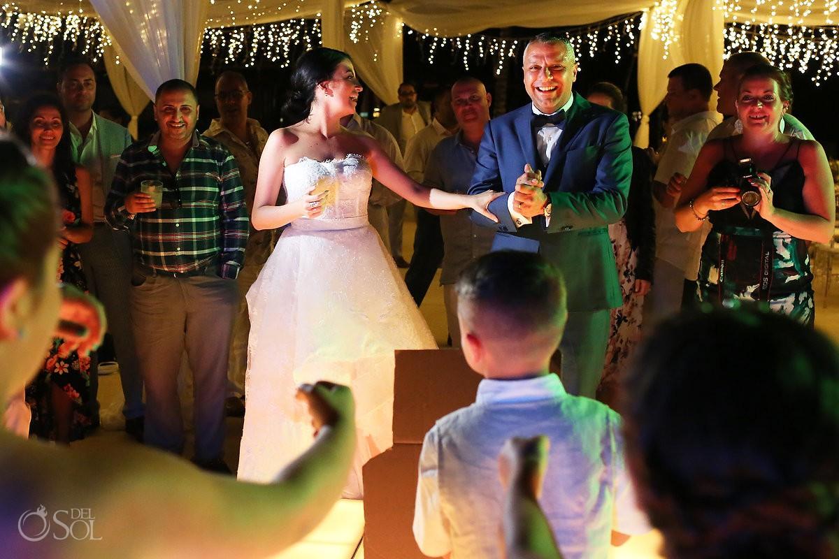 Destination Wedding bride and groom dancing Dreams Riviera Cancun Resort Mexico