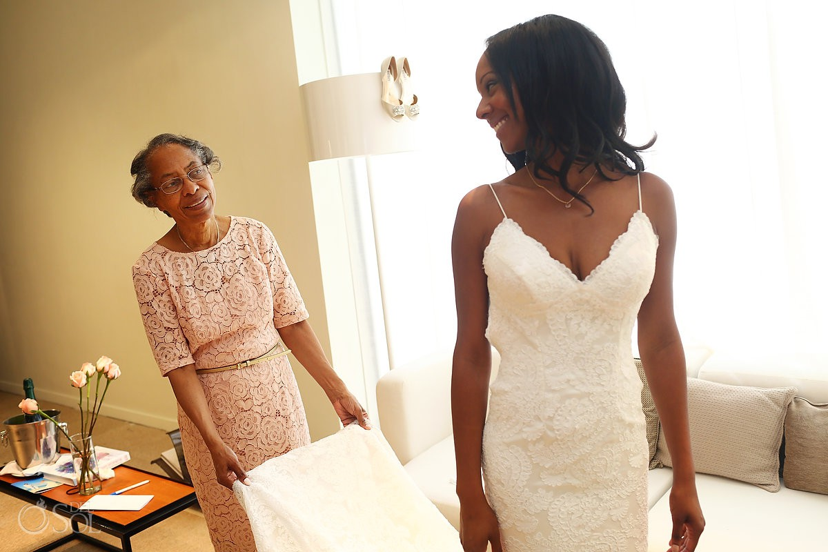 bride and mom getting ready Finest Resort Playa Mujeres Cancun Mexico