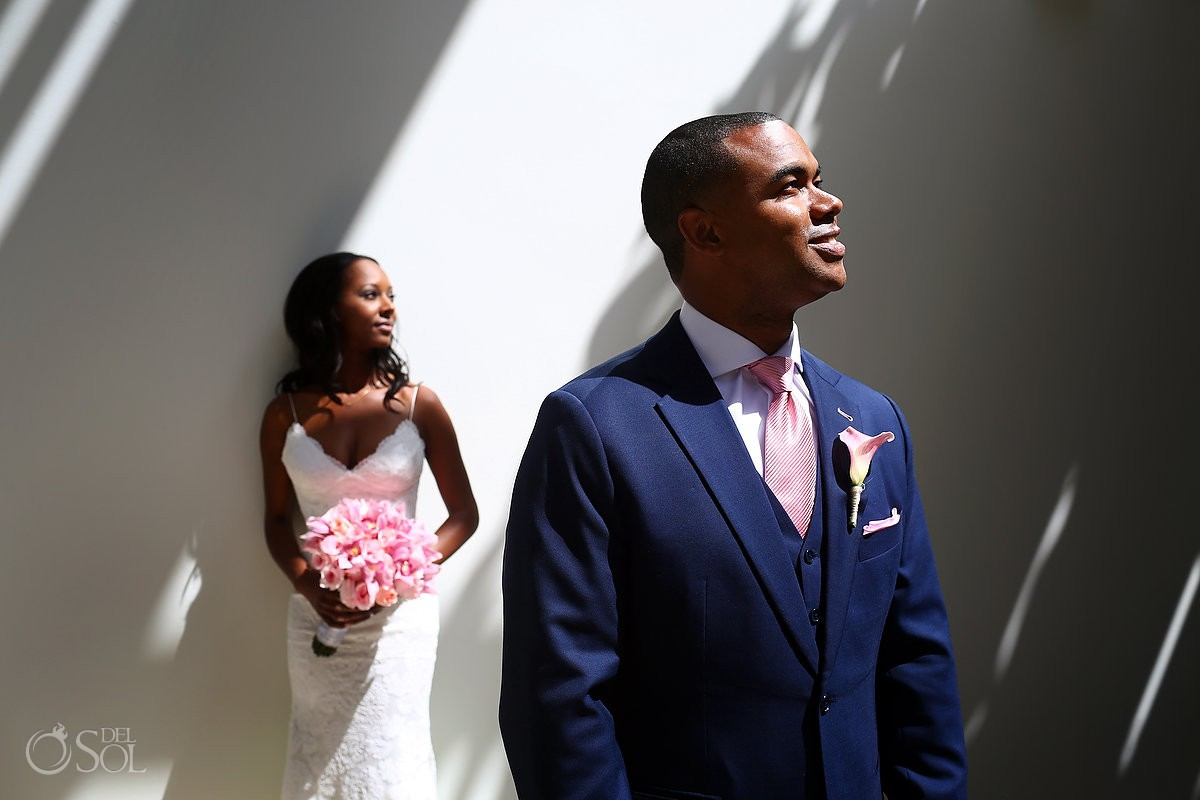 creative bride and groom portrait Finest Resort Playa Mujeres Cancun Mexico