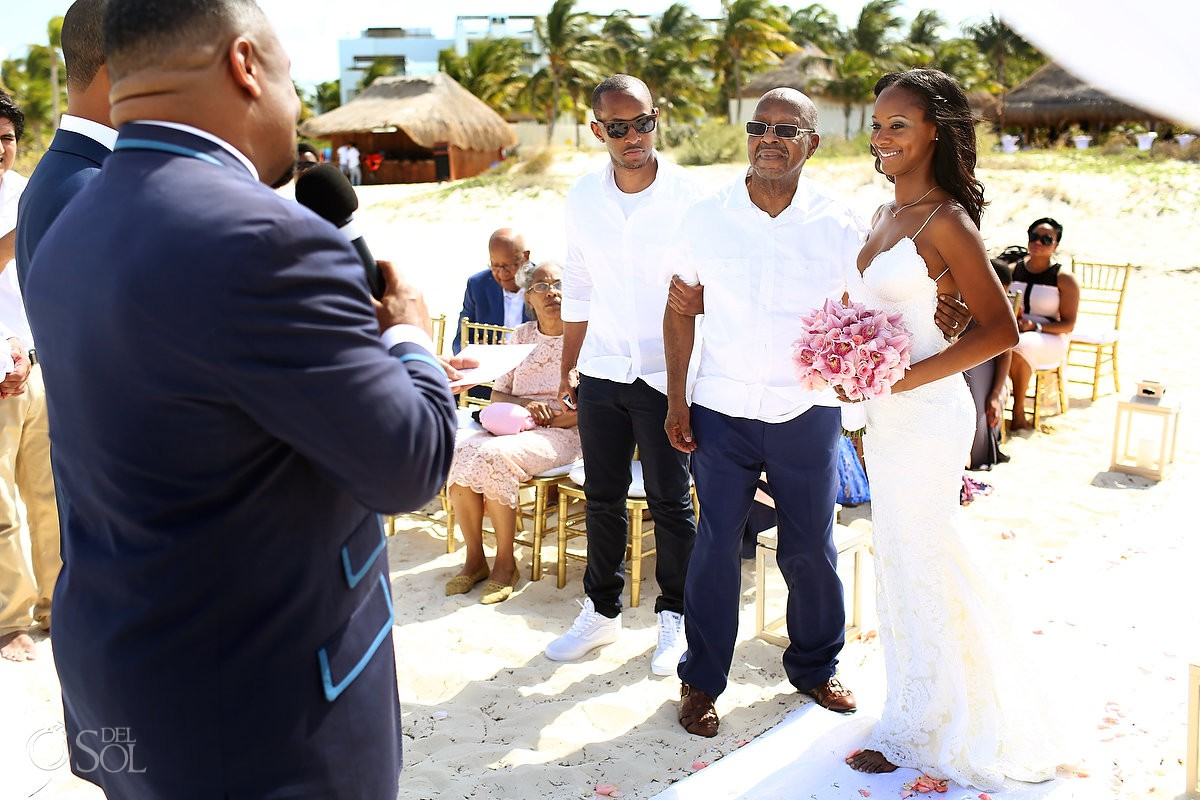 Dad giving away to the bride wedding ceremony Finest Resort Playa Mujeres Cancun Mexico