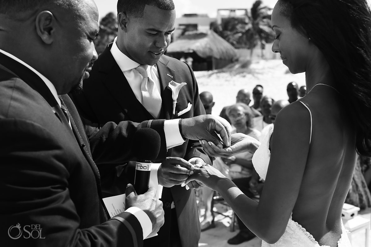 Destination wedding ceremony Finest Resort Playa Mujeres Cancun Mexico exchange rings