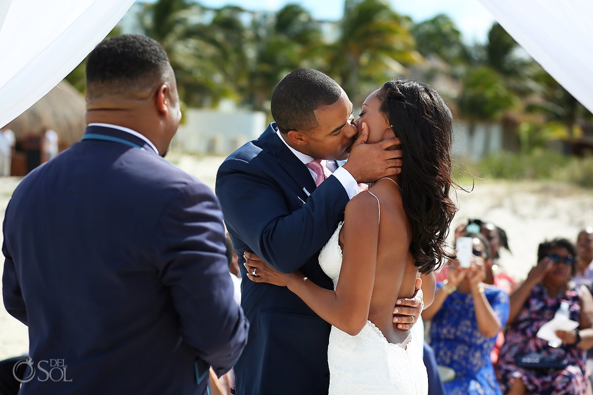 First kiss bride and groom destination wedding Finest Resort Playa Mujeres Cancun Mexico