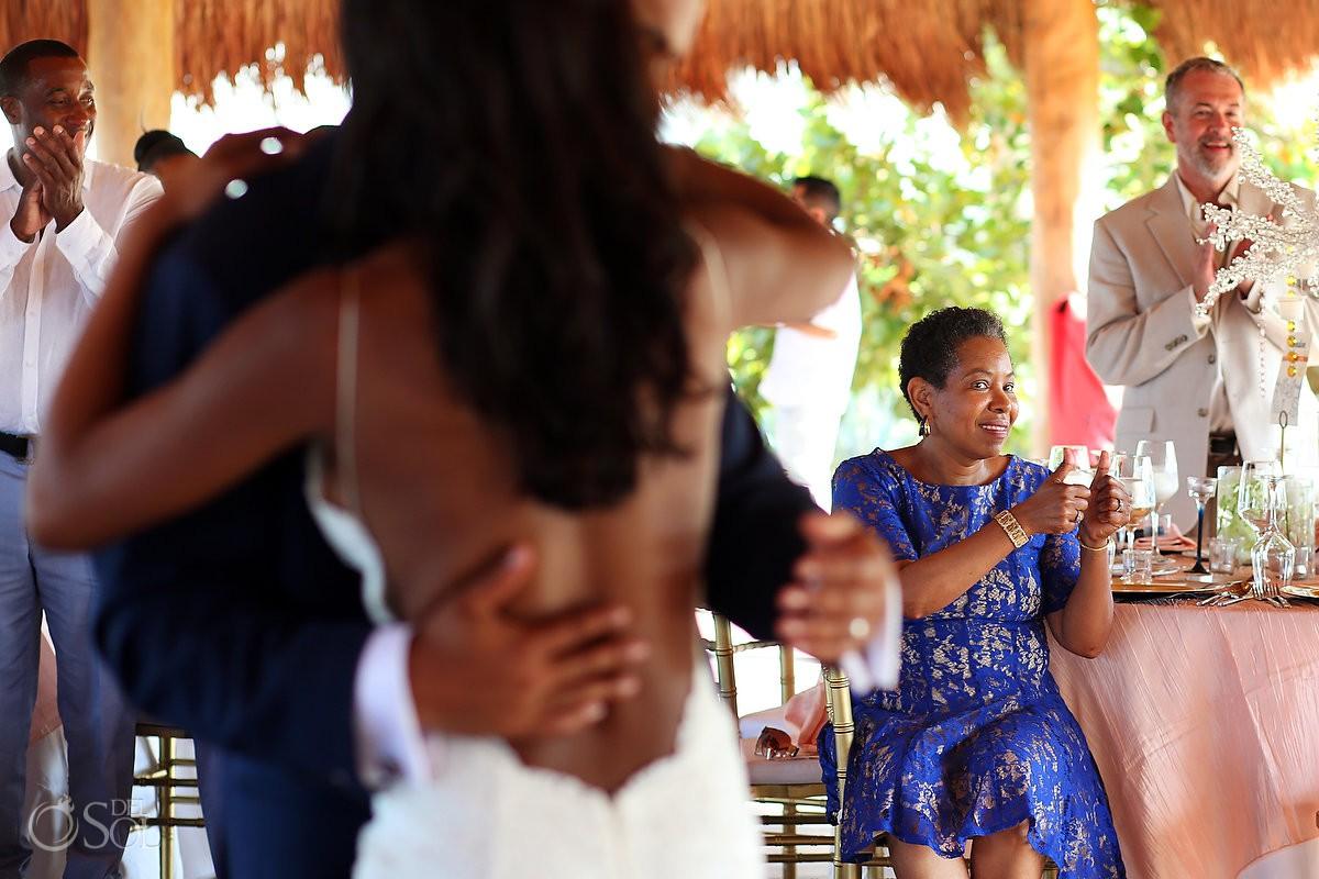 gust enjoying fist dance wedding reception Finest Resort Playa Mujeres Cancun Mexico