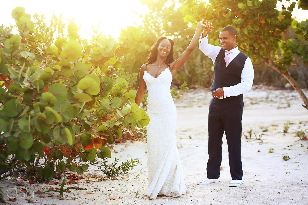 sunset bride and groom portrait Finest Resort Playa Mujeres Cancun Mexico