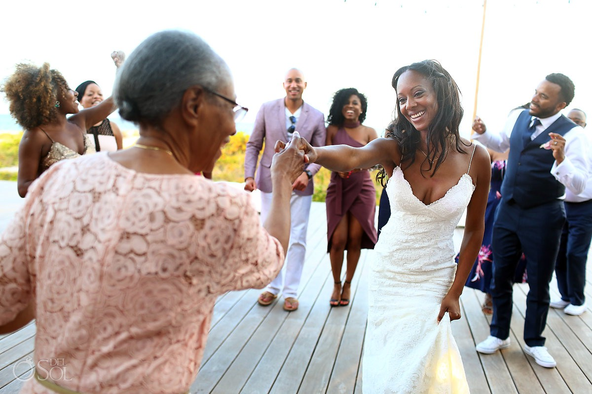 Mom and bride dancing Finest Resort Playa Mujeres Cancun Mexico