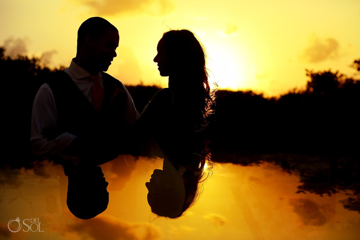 creative bride and groom sunset silhouette portrait Finest Resort Playa Mujeres Cancun Mexico