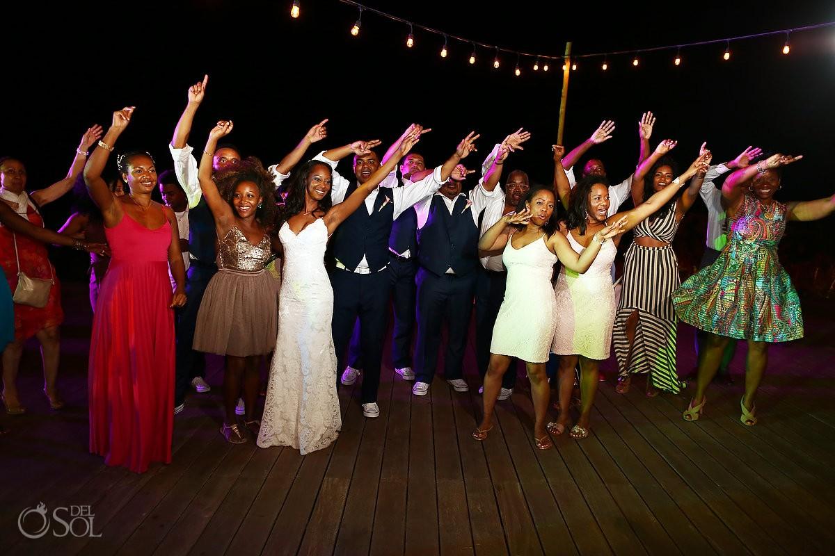 everybody dancing wedding reception Finest Resort Playa Mujeres Cancun Mexico