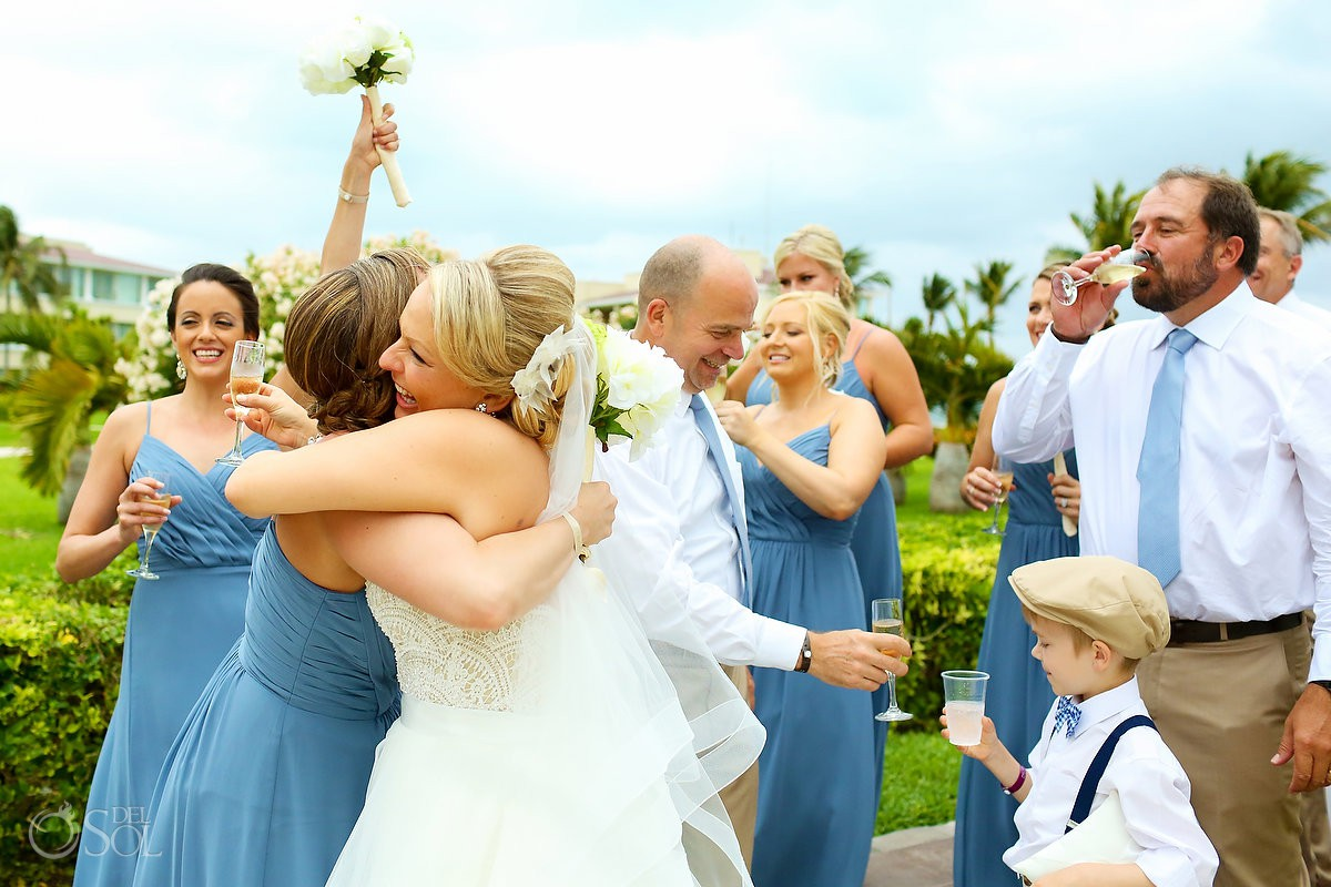 hugs and love wedding ceremony moments Moon Palace Playa del Carmen Mexico