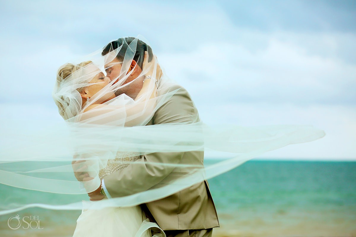 Beach romantic wedding portrait Moon Palace Playa del Carmen Mexico