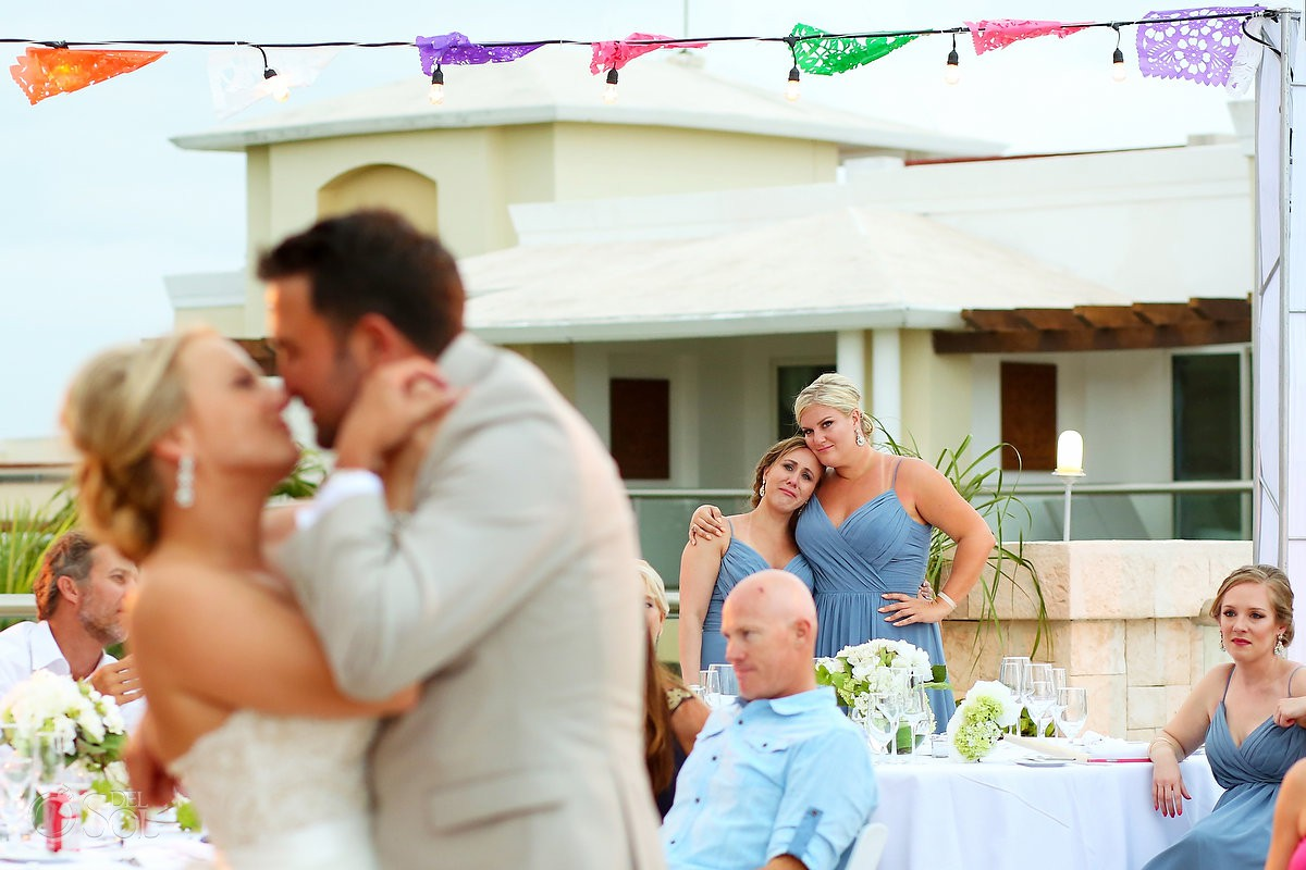 Emotional bride and groom first dance Moon Palace Playa del Carmen Mexico
