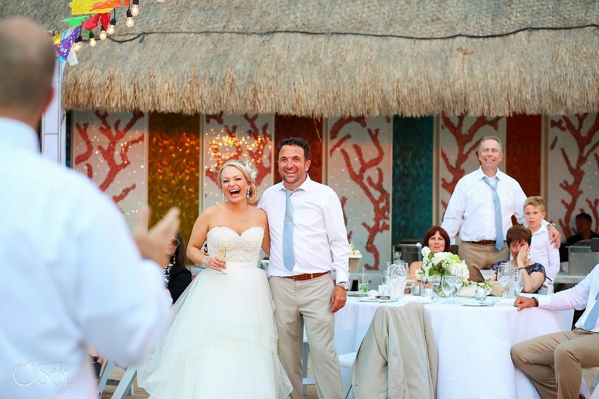 bride and groom fun guest speech Moon Palace Playa del Carmen Mexico