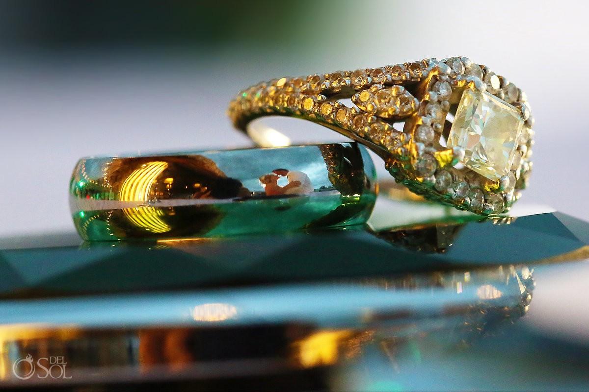 creative reflection bride and groom wedding ring Moon Palace Playa del Carmen Mexico