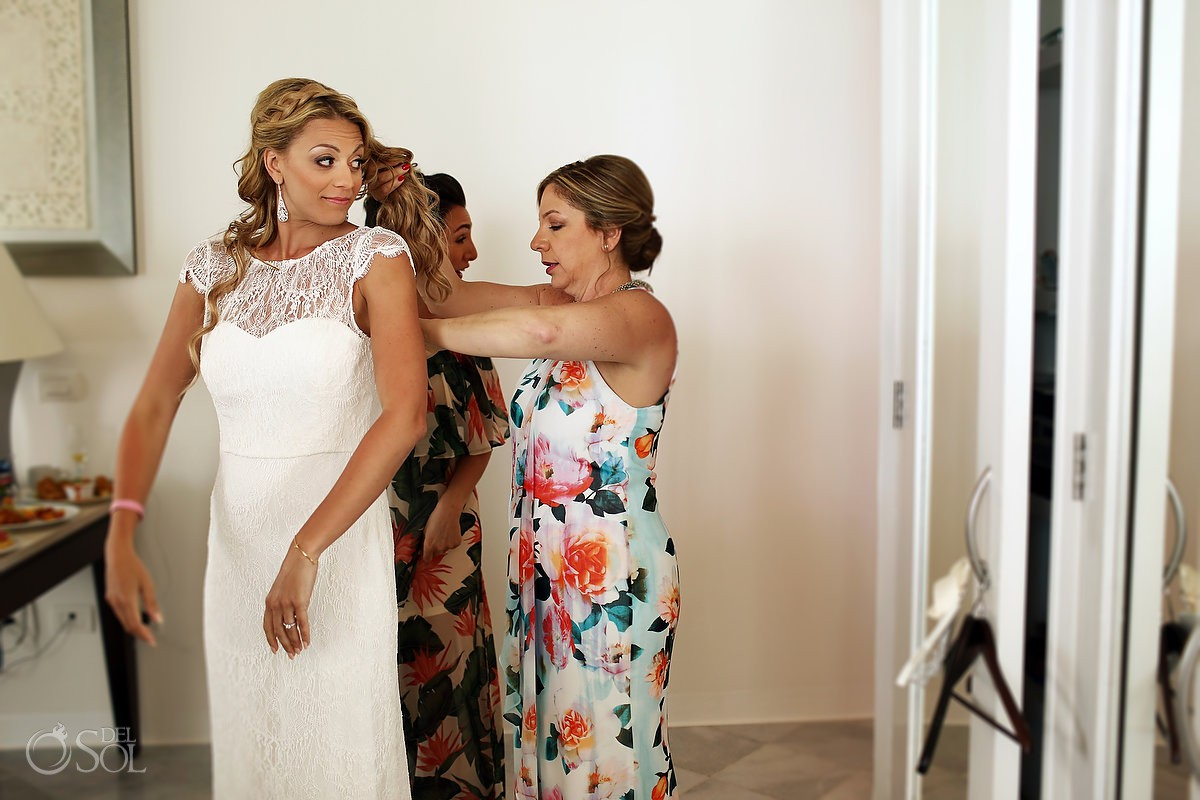 Beautiful bride getting ready Beach Wedding at Playacar Palace and Blue Venado Beach Club Playa del Carmen Mexico