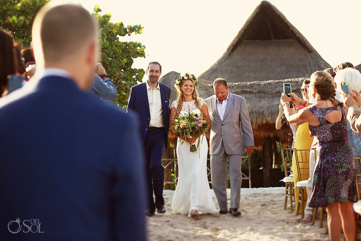 Destination ceremony Beach Wedding at Playacar Palace and Blue Venado Beach Club Playa del Carmen Mexico